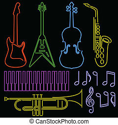 Neon music symbols - Set of musical instruments rendered in...
