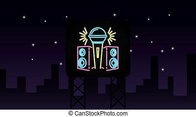 neon, muur, karaoke, licht, etiket