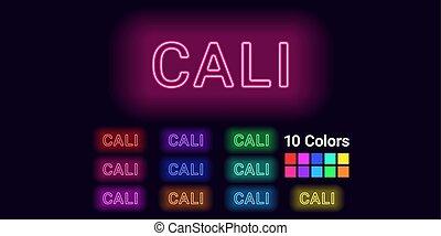 Neon name of Cali city