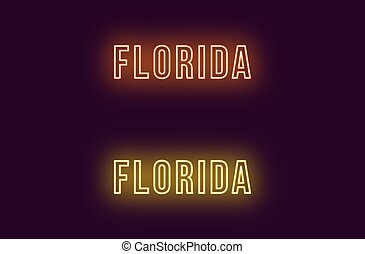 Neon name of Florida state in USA. Vector text