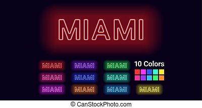 Neon name of Miami city