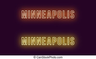 Neon name of Minneapolis city in USA. Vector text of...