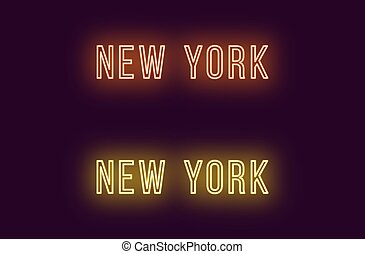 Neon name of New York city in USA. Vector text