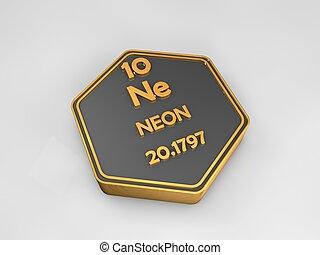 Neon - Ne - chemical element periodic table hexagonal shape 3d illustration
