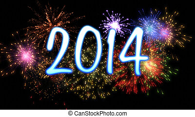 neon new year 2014 with fireworks - neon blue new year 2014...