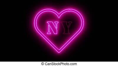 Neon New York sign depicts Manhattan in NYC America. The Big Apple includes Brooklyn and 7th Avenue - 4k