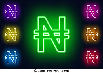 Neon Nigerian naira sign in various color options on a dark...