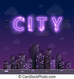 Neon night city background cover retro, Vector illustration