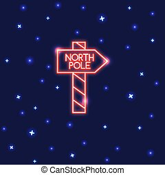 Neon North Pole waypost icon in thin line style