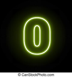 Green neon number 0 with glow on black background. Blur effect is made with mesh. Vector illustration