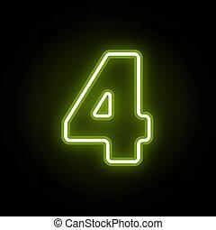 Neon number 4 on black