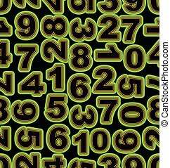 Neon number in green on black background. Seamless vector tile, bold font cipher.