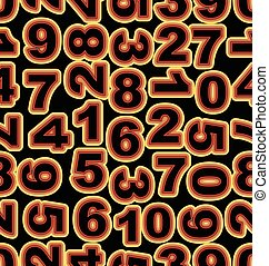 Neon number in yellow and red colors on black background. Seamless vector tile, bold font cipher.