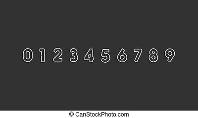 Neon number symbols, glowing font mockup, looped switch, 4k ...