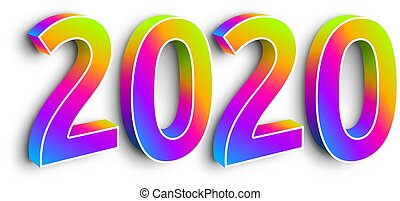 Neon Numbers 2020 on White Background. Happy New Year, Merry Christmas Vector Illustration. 3d Creative Design.