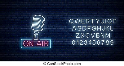Neon on the air sign with retro microphone with alphabet....