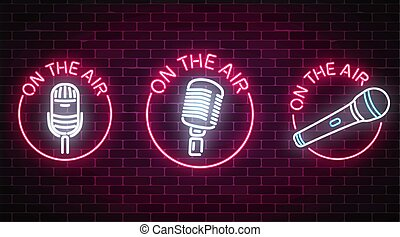 Neon on the air signs set with microphones symbols in round frames. Nightclub with live music icon.