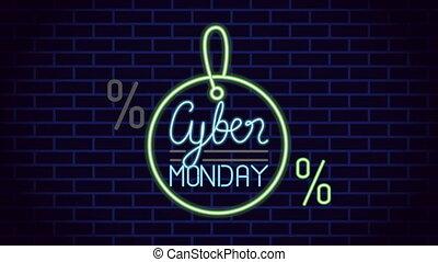 neon ontsteken, cyber, etiket, label, maandag