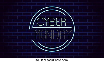 neon ontsteken, cyber, etiket, maandag