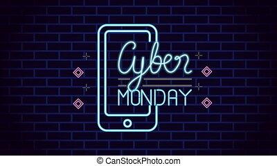 neon ontsteken, smartphone, cyber, etiket, maandag