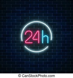 Neon open 24 hours sign in circle frame. Round the clock working bar or store signboard