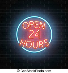 Neon open 24 hours sign on a brick wall background. Round the clock working bar or night club signboard with lettering.