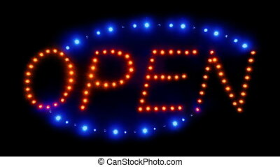 Neon Open Sign With Moving Lights - Zoom into neon red and...