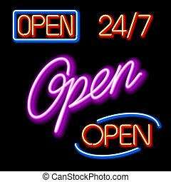 Neon Open signs - Vector illustration of glowing neon Open...