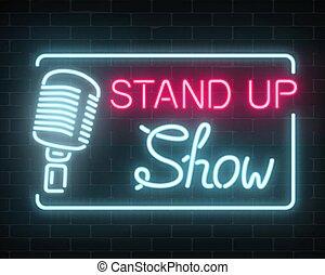 neon, opstaan, tonen, meldingsbord, met, retro, microfoon, op, een, baksteen muur, achtergrond., komedie, slag, gloeiend, signboard.