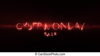 Neon orange Cyber Monday sale text appearing against a black...