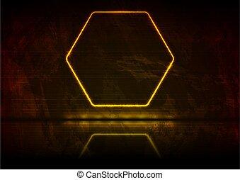 Neon orange glowing hexagon frame grunge background