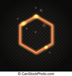 Neon orange hexagon frame with space for text