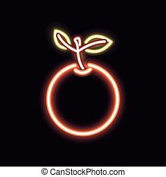 Neon orange silhouette icon