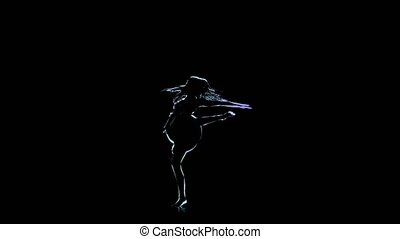 Neon outlines. Computer drawing of ballerina posing in slow motion
