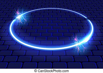 Neon oval frame with sparkle stars on brick wall for decoration signboard