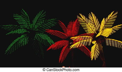 Neon Palm Trees - WS low angle of neon palm trees at the ...