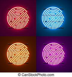 Neon Password Touch ID phone sign color set.