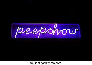 Neon peepshow sign from the red light district - A neon sign...