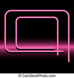 Neon pink banner frame vector design
