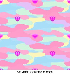 Neon pink girl camouflage seamless vector pattern.