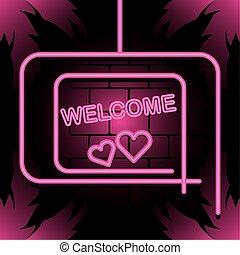 Neon pink welcome banner frame vector design