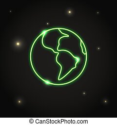 Neon planet Earth icon in thin line style