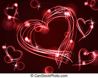 neon, plasma, eller, hjärtan