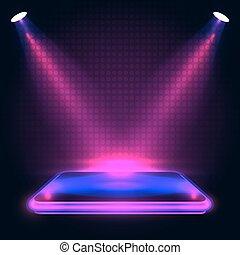 Spotlights., neon, illustratie, verlichting, podium,... vector ...
