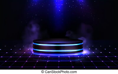 Neon podium with smoke and sparkles. Empty stage