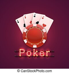 Neon poker chips and cards casino banner.