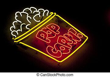 Neon Popcorn Sign