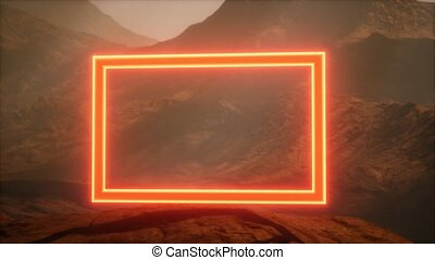 Neon Portal on Mars Planet Surface With Dust Blowing