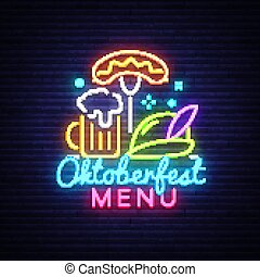 Neon Poster to oktoberfest festival vector. Oktoberfest Menu Neon Sign Vintage vector engraving illustration for invitation to party. Design Template, trendy design, light banner. Vector Illustration