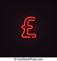 neon pound symbol vector